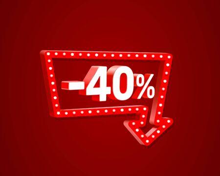 Banner 40 off with share discount percentage, neon signboard arrow. Vector illustration Ilustração
