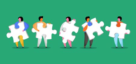 Group of people holding jigsaw puzzle. Vector illustration Ilustrace