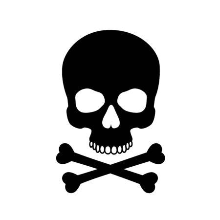Human skull isolated on black, color symbol. Vector illustration Reklamní fotografie - 133435631