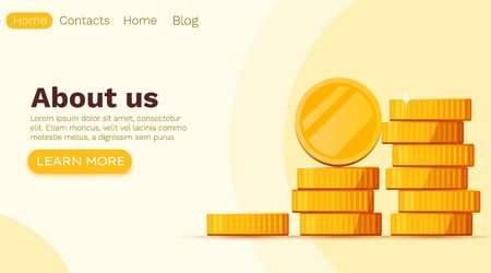 Stack of golden dollar coins isolated on white background. Landing page template. Make money online concept. Vector illustration Stock Illustratie