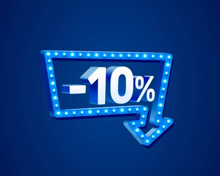Banner 10 off with share discount percentage, neon signboard arrow. Vector illustration