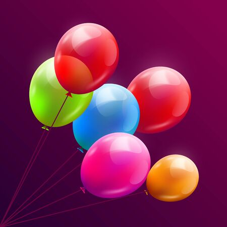 Balloon brunch background. Greeting, happy birthday concept. Vector illustration