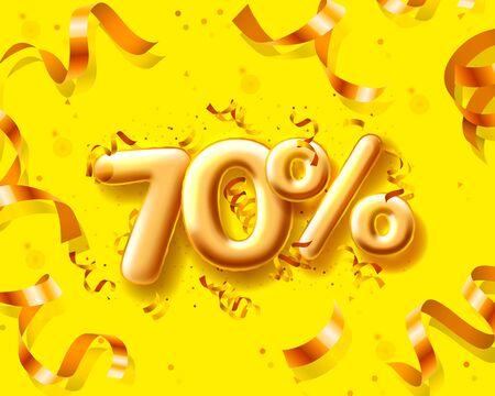 Sale 70 off ballon number on the yellow background. Vector illustration Illusztráció