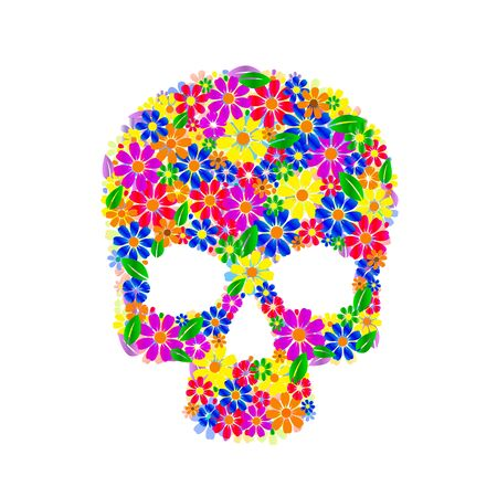 Painting skull flowers isolated on black, color symbol. Vector illustration