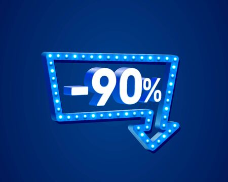 Banner 90 off with share discount percentage, neon signboard arrow. Vector illustration