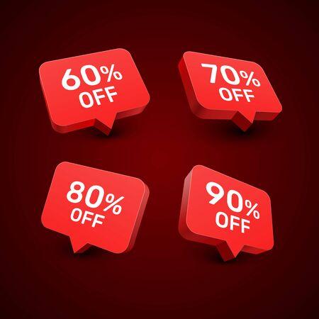 Banner 60 70 80 90 off with share discount percentage. Vector illustration Ilustração