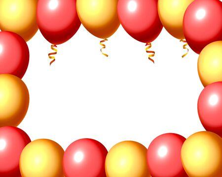 Festive balloon in an empty frame, color red and yellow. Vector illustration Illusztráció