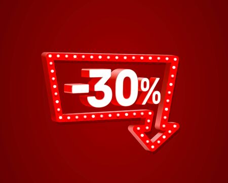 Banner 30 off with share discount percentage, neon signboard arrow. Vector illustration