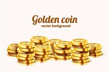 A lot of coins on white background. Jackpot or success concept. Modern background. Vector illustration Illusztráció