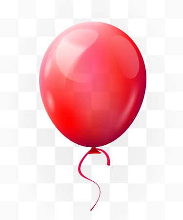 Red balloon on transparent background. Greeting, happy birthday concept. Vector illustration