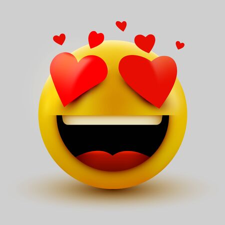 Smile in love emoticon icon, love hearts in eyes. Vector emoticon emoji flat heart in the eyes symbol. Vector illustration