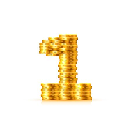 Vector font style made of golden coins. Coin numbers. Number 1. One. Vector illustration