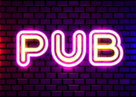 Retro neon Beer Bar sign on brick wall background. Neon design for bar, pub or restaurant business. Craft beer. Vector illustration. Illusztráció