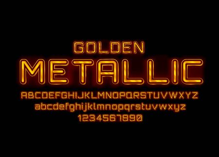 Metallic golden font. English alphabet and numbers sign. Vector illustration Stock Illustratie