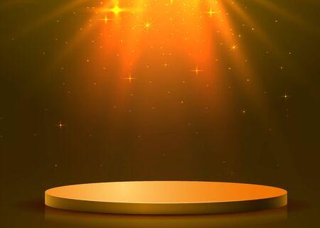 Abstract round podium illuminated with spotlight. Award ceremony concept. Stage backdrop. Vector illustration Stockfoto - 133425100