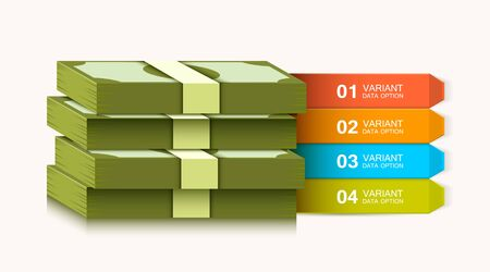 Business presentation template. Business solutions or options. Money infographics. Dollar stack. Vector illustration Ilustração