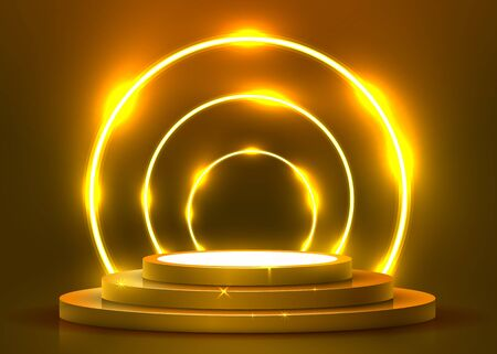 Abstract round podium illuminated with spotlight and neon. Award ceremony concept. Stage backdrop. Vector illustration Stockfoto - 133425019