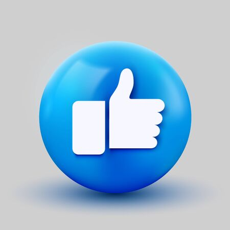 3D thumb up ball sign Emoticon Icon Design for Social Network. Modern like Emoji. Vector illustration
