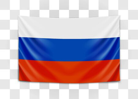 Hanging flag of Russia. Russian Federation. National flag concept. Vector illustration. 向量圖像