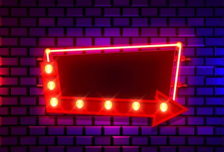 Neon frame on a brick colored wall. template design element. Vector illustration