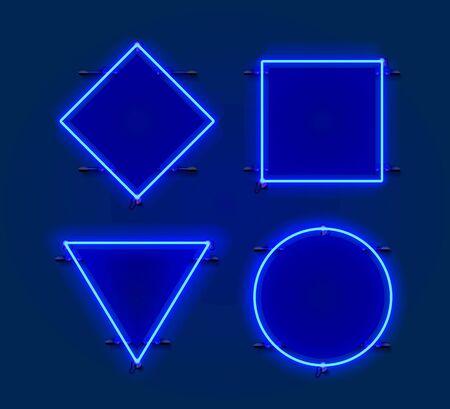 Neon frame Figures set collection. template design element. Vector illustration Stockfoto - 133424640