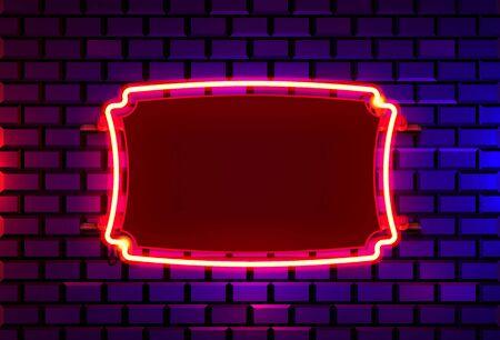 Marco de neón en una pared de color ladrillo. elemento de diseño de plantilla. Ilustración vectorial