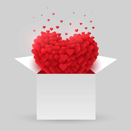 Red heart in an open box. Valentine Day. The concept of love. Vector illustration