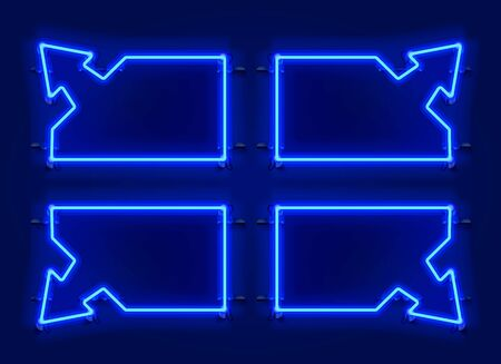 Neon frame arrow set collection. template design element. Vector illustration