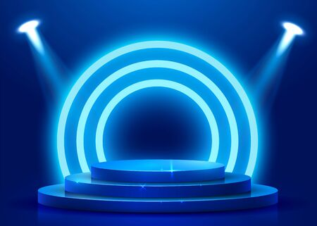 Abstract round podium illuminated with spotlight. Award ceremony concept. Stage backdrop. Vector illustration Stockfoto - 133424570