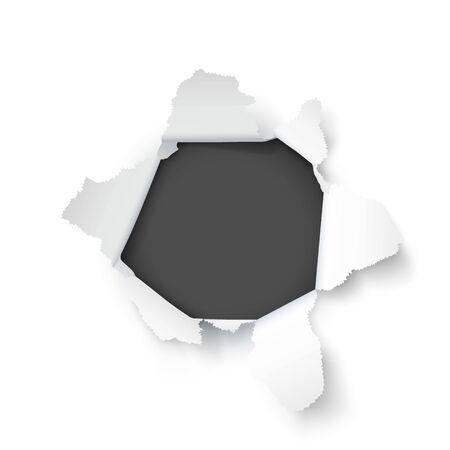 Explosion paper hole on the white background. Vector illustration Ilustração