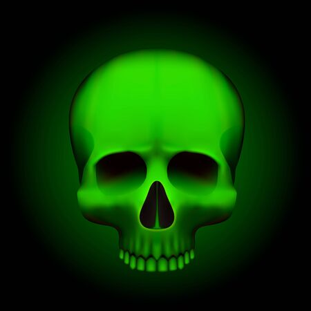 Human skull isolated on black, color green object. Vector illustration
