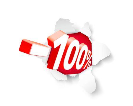 Paper explosion banner 100 off with share discount percentage. Vector illustration Ilustração