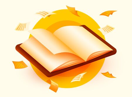 Opened Book with flying sheets of paper. Education concept. School or university. Science banner. Vector illustration