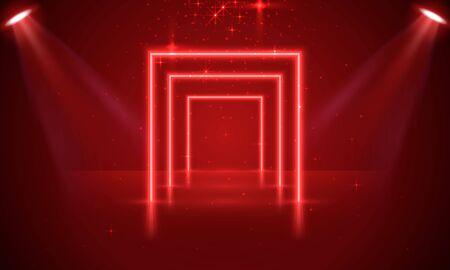 Neon show light podium red background, scene illuminated. Vector illustration Stockfoto - 133423508