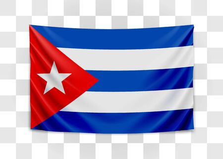 Hanging flag of Cuba. Republic of Cuba. Cuban national flag concept. Vector illustration.  イラスト・ベクター素材