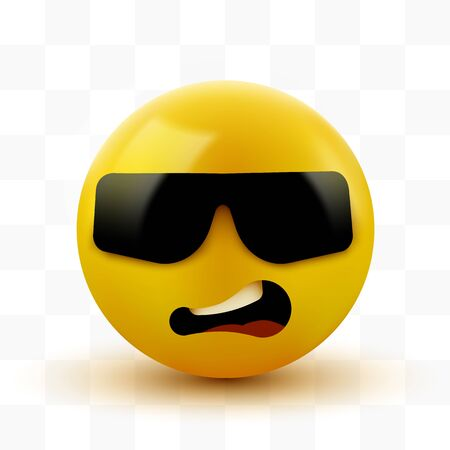 Face with sunglasses emoji. Emoticon with dark sunglasses. Like a boss. Vector illustration Ilustracja