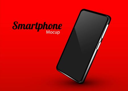 Realistic smartphone mockup. Cellphone frame with blank display isolated template. Mobile device concept. Vector illustration Фото со стока - 133423417
