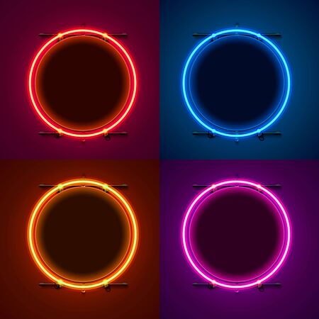 Neon frame sign in the shape of a circle. Set color. template design element. Vector illustration Stockfoto - 133423424
