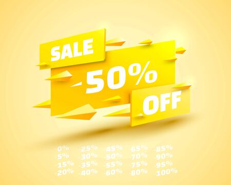 Fly banner sale off set collection, color yellow. Vector illustration
