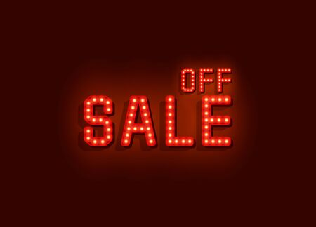 Neon signboard text sale off on the red background. Vector illustration