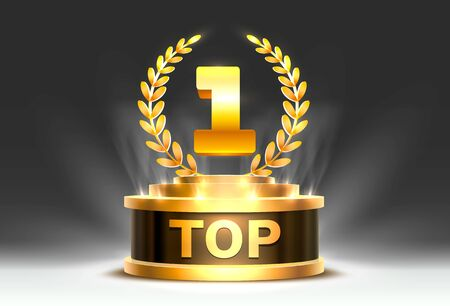 Top 1 best podium award sign, golden object. Vector illustration