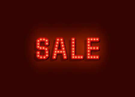 Neon signboard text sale on the red background. Vector illustration