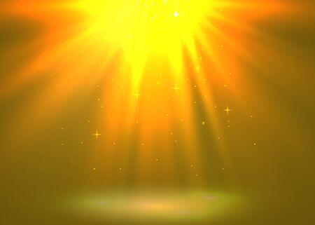 Abstract magic light background. Golden holiday burst. Vector illustration Foto de archivo - 133423140