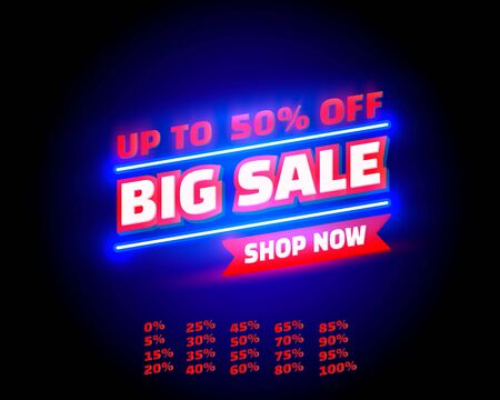 Big sale off shop new neon banner set collection, color red. Vector illustration