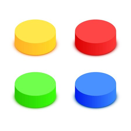 Colorful 3d button collection. Elements for modern website. Vector illustration Stockfoto - 133422819
