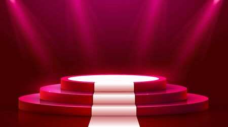 Abstract round podium with white carpet illuminated with spotlight. Award ceremony concept. Stage backdrop. Vector illustration Stockfoto - 133422210