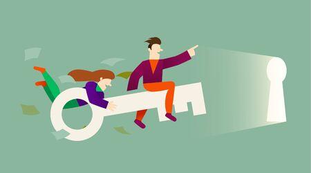 Cartoon characters fly on key into the keyhole. Teamwork. The key to the door. Vector illustration Ilustração