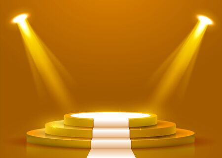 Abstract round podium with white carpet illuminated with spotlight. Award ceremony concept. Stage backdrop. Vector illustration Stock Illustratie
