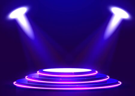 Abstract round podium illuminated with spotlight and neon. Award ceremony concept. Stage backdrop. Vector illustration Stockfoto - 133422225