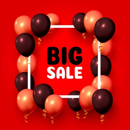 Big sale balloon market frame on the red background. Vector illustration Stock Illustratie